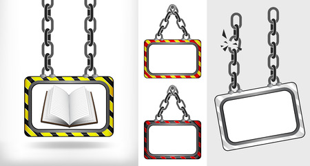 open book on chain hanged board collection vector illustration Vector