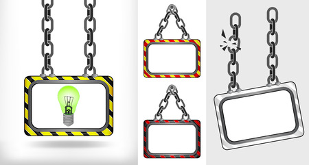 green lightbulb on chain hanged board collection vector illustration Vector