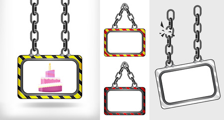 fancy cake on chain hanged board collection vector illustration Illustration