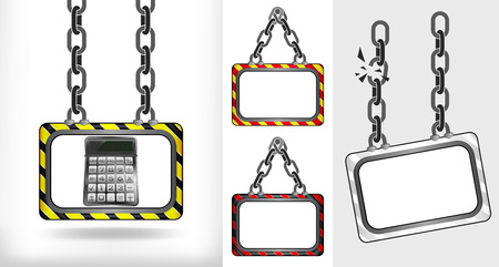 calculator on chain hanged board collection vector illustration Vector