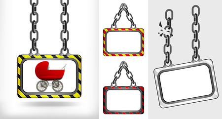 girl pushchair on chain hanged board collection vector illustration Vector
