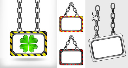 felicity: cloverleaf happiness on chain hanged board collection vector illustration Illustration