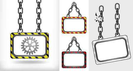 industrial cogwheel on chain hanged board collection vector illustration Vector