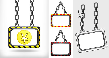 yuan: golden Yuan coin on chain hanged board collection vector illustration