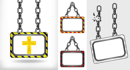 golden cross on chain hanged board collection vector illustration Vector