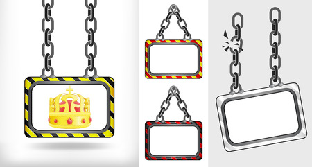 royal crown on chain hanged board collection vector illustration Vector