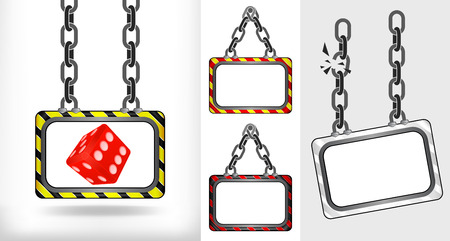 lucky dice on chain hanged board collection vector illustration Vector