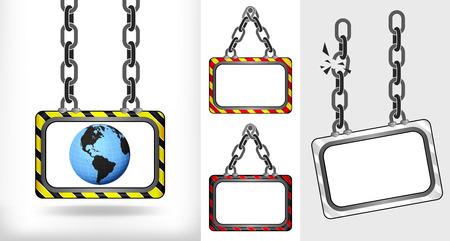America world globe on chain hanged board collection vector illustration Vector
