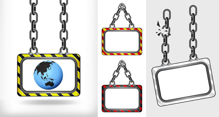 Asia world globe on chain hanged board collection vector illustration Vector