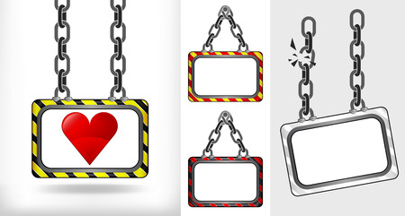 heart icon on chain hanged board collection vector illustration Vector
