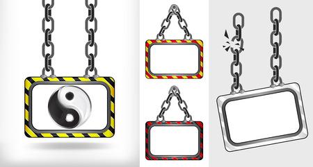 balance icon: balance icon on chain hanged board collection vector illustration Illustration