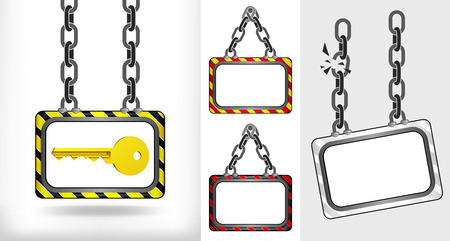 golden key on chain hanged board collection vector illustration Vector