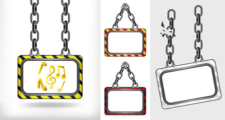 music icons on chain hanged board collection vector illustration Vector