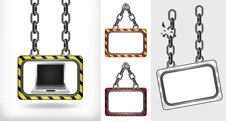 new laptop on chain hanged board collection vector illustration Vector