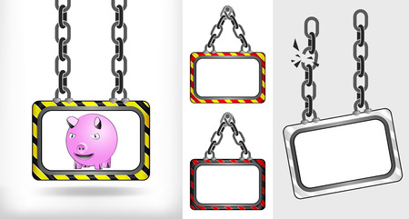 happy pig on chain hanged board collection vector illustration Vector