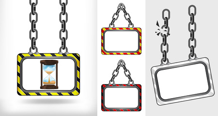 running hourglass on chain hanged board collection vector illustration Vector