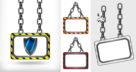 defensive: defensive shield on chain hanged board collection vector illustration