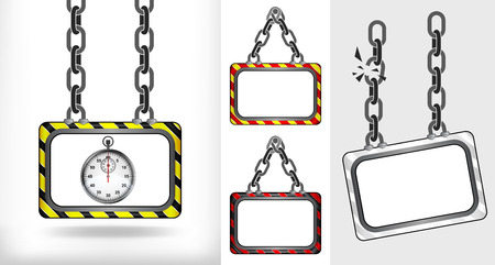 stopwatch on chain hanged board collection vector illustration Vector