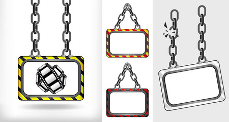 movie tape on chain hanged board collection vector illustration Vector