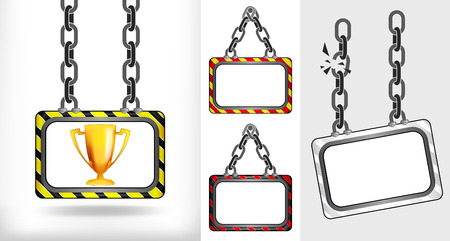 champion cup on chain hanged board collection vector illustration Vector