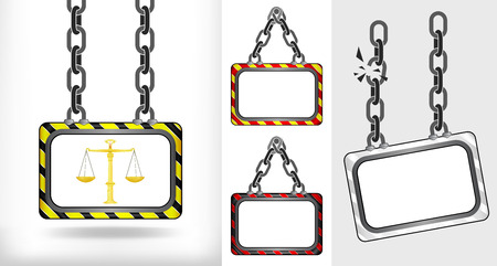golden weight on chain hanged board collection vector illustration Vector