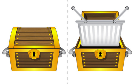 A closed wooden chest and a shopping basket in an open wooden chest