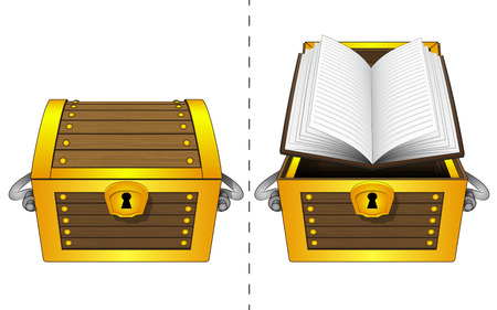 book case:  A closed wooden chest and an open book in an open wooden chest