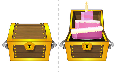 A closed wooden chest and a fancy cake in an open wooden chest Vector