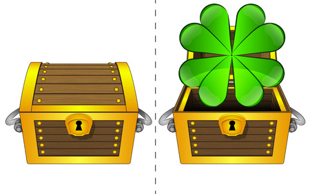 felicity:  A closed wooden chest and a cloverleaf in an open wooden chest