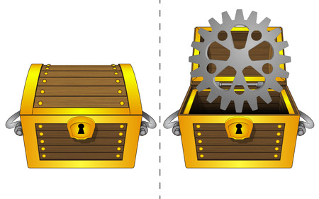 coffer:  A closed wooden chest and a industrial cogwheel in an open wooden chest Illustration