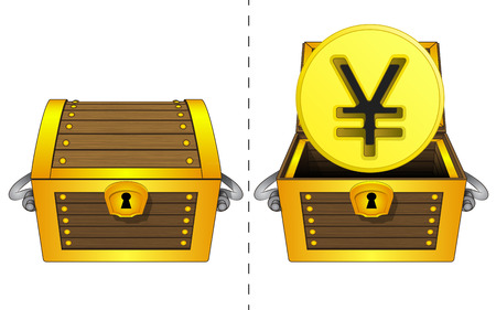 A closed wooden chest and a golden Yuan coin in an open wooden chest Vector