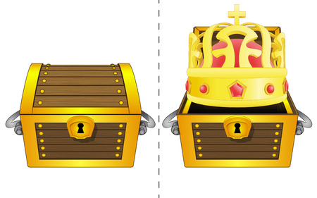 coffer:  A closed wooden chest and a royal crown in an open wooden chest