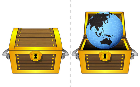 A closed wooden chest and Asia world globe in an open wooden chest Vector