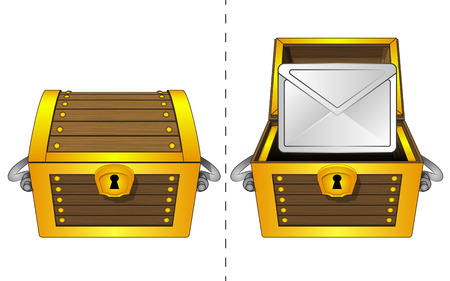 A closed wooden chest and a message icon in an open wooden chest Vector
