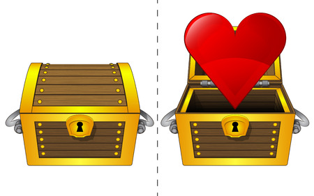 coffer:  A closed wooden chest and a heart icon in an open wooden chest Illustration