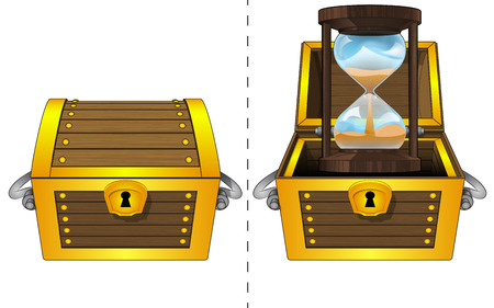 A closed wooden chest and a running hourglass in an open wooden chest Vector
