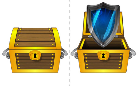 defensive:   A closed wooden chest and a defensive shield in an open wooden chest Illustration