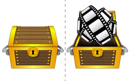A closed wooden chest and movie tape in an open wooden chest Vector