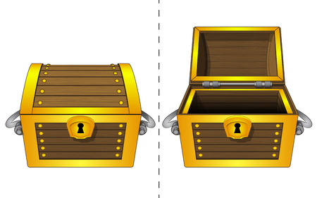 A closed wooden chest and an open wooden chest 向量圖像