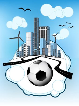 football on white bubble with ecological cityscape vector illustration Vector
