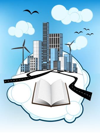 open book on white bubble with ecological cityscape vector illustration Vector
