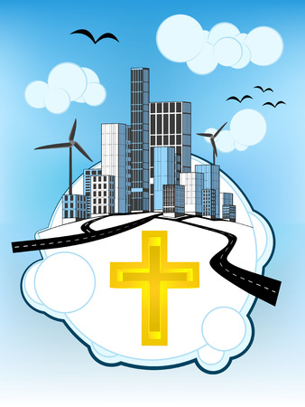 golden cross on white bubble with ecological cityscape vector illustration Vector