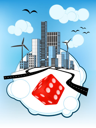 lucky red dice on white bubble with ecological cityscape vector illustration Vector