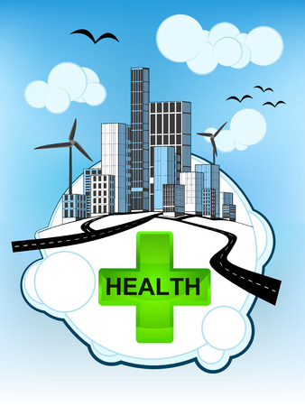 gree: gree health icon on white bubble with ecological cityscape vector illustration