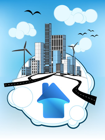blue house icon on white bubble with ecological cityscape vector illustration Vector