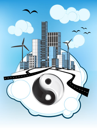 jing balance icon on white bubble with ecological cityscape vector illustration Illustration