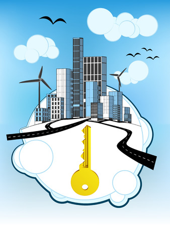 golden key: golden key on white bubble with ecological cityscape vector illustration