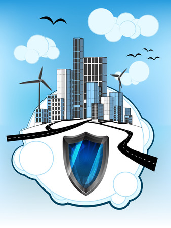 defensive: defensive shield on white bubble with ecological cityscape vector illustration