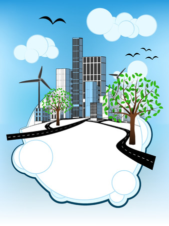 leafy tree on white bubble with ecological cityscape vector illustration Vector
