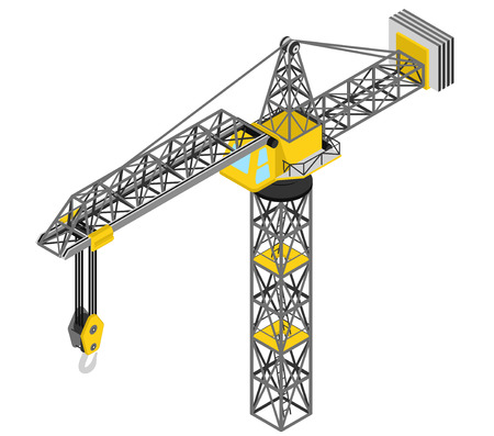 isolated crane structure isometric front view vector illustration Vector